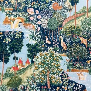 Exquisite 60s 🦢🌳🐇🍄fairy tale percale sheet